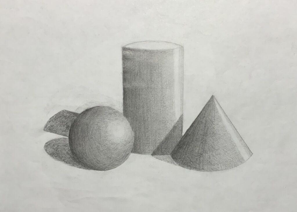 Zeichnung von dreidimensionalen Formen mit Schattierungen